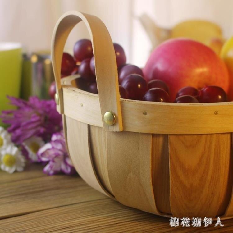 果盤 水果盤客廳個性創意家用簡約現代木片手工編織面包籃  迎新年狂歡SALE