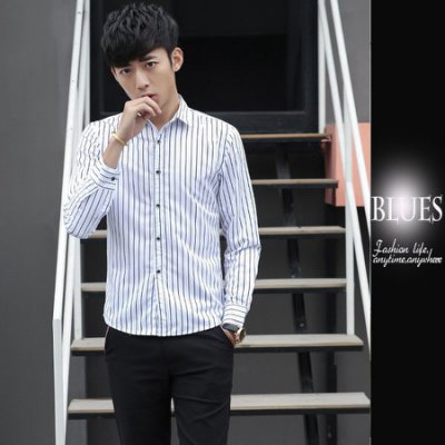 【Blues】S558-韓系時尚經典條紋修身長袖襯衫 日 韓 窄身 休閒 棉