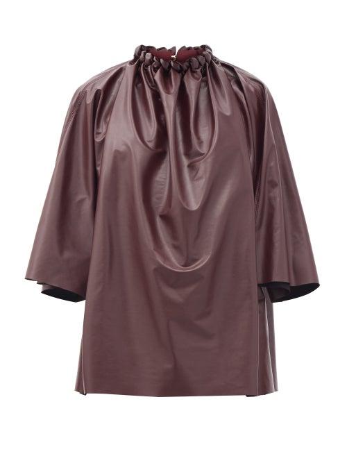 Roksanda - Ava Braided-neck Faux-leather Top - Womens - Burgundy