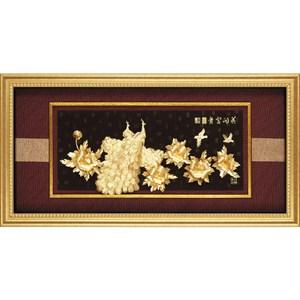 純金箔畫*豪華大器版* 牡丹孔雀【花團錦簇 花開富貴】132x68cm外徑132x68cm