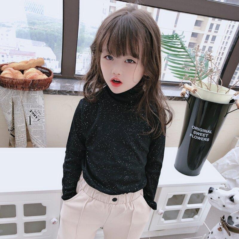 2019兒童秋冬季新款舒適百搭純色打底衫 女童可外穿保暖高領T恤1入