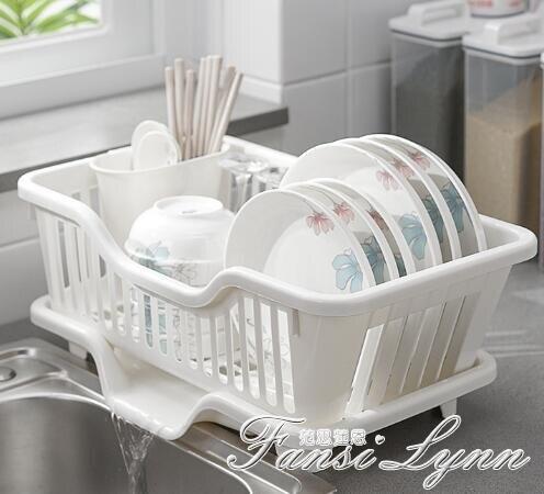 碗碟收納架瀝水碗架廚房瀝水架塑料家用單層小型筷濾水放碗架HM