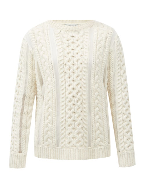 Gabriela Hearst - Westall Tulle-insert Cabled Wool-blend Sweater - Womens - Ivory
