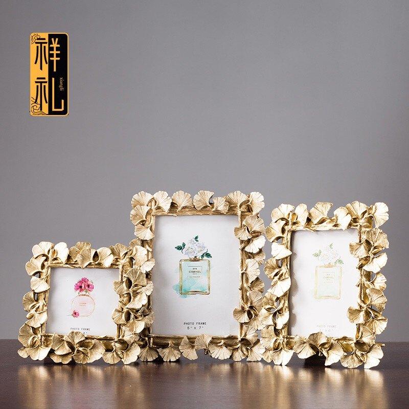 新店五折 創意復古相框影樓婚禮擺拍歐式樹脂金色葉子桌面畫框工藝品擺件