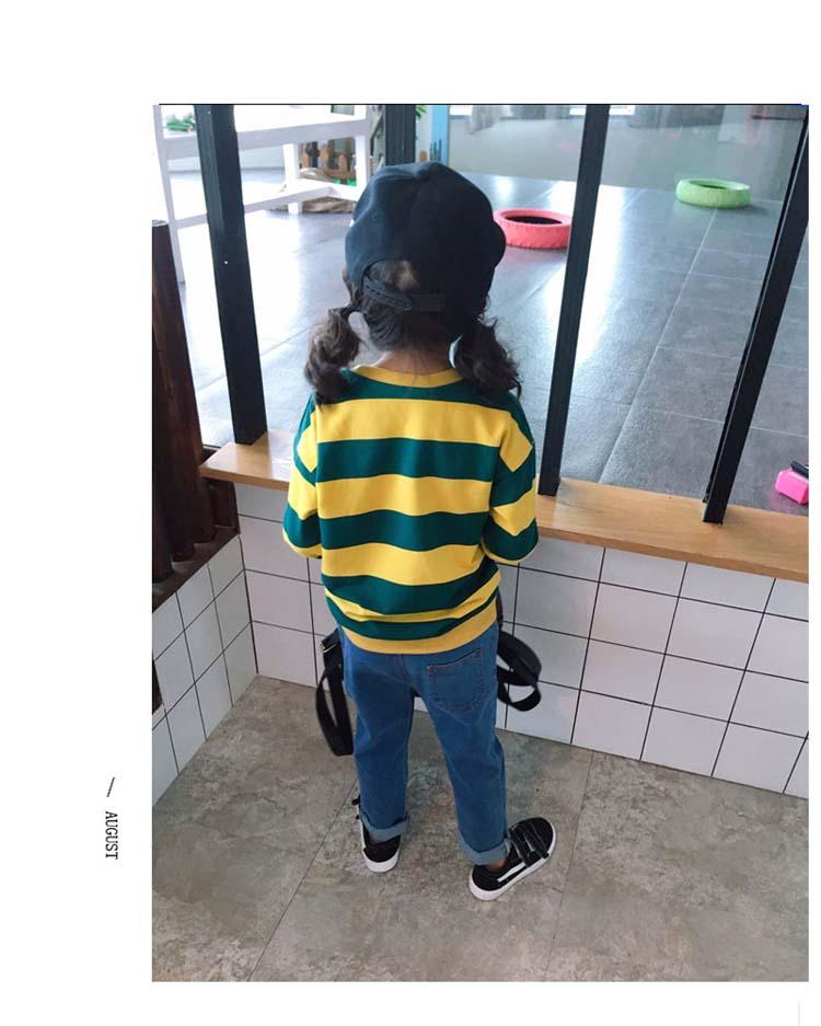 童裝2018中小童舒適卡通印花T恤 男女童春秋裝長袖條紋套頭上衣1入