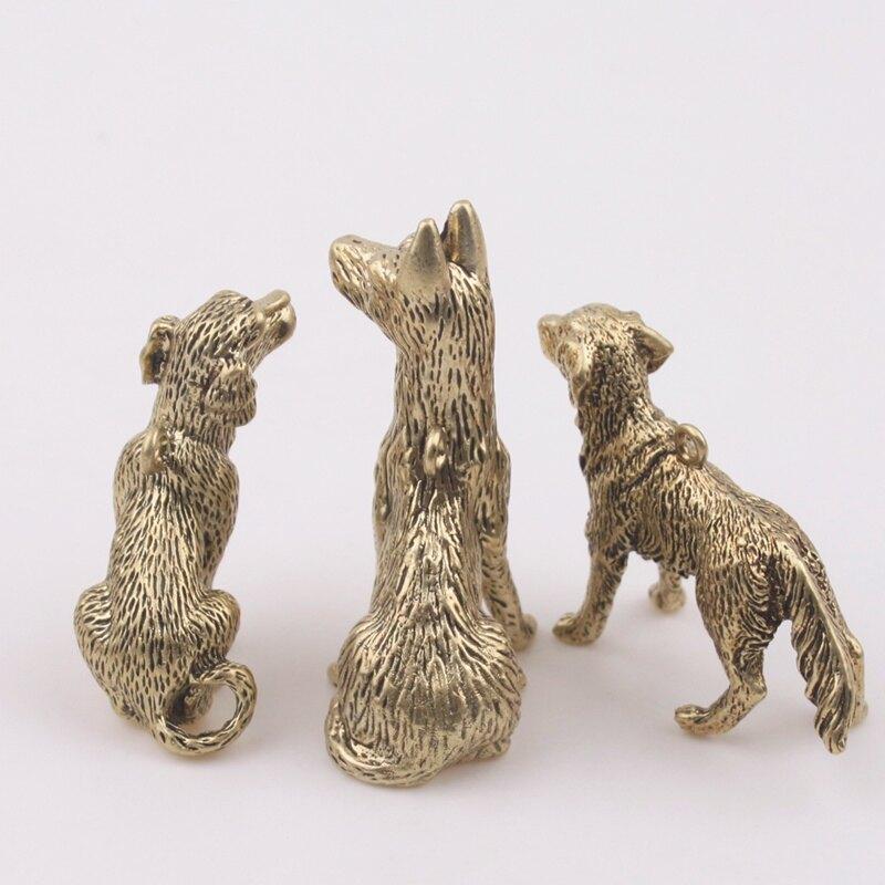 純銅鑰匙扣小狗兒童創意禮品生肖掛件屬狗黃銅吊墜汽車手工小鳥1入