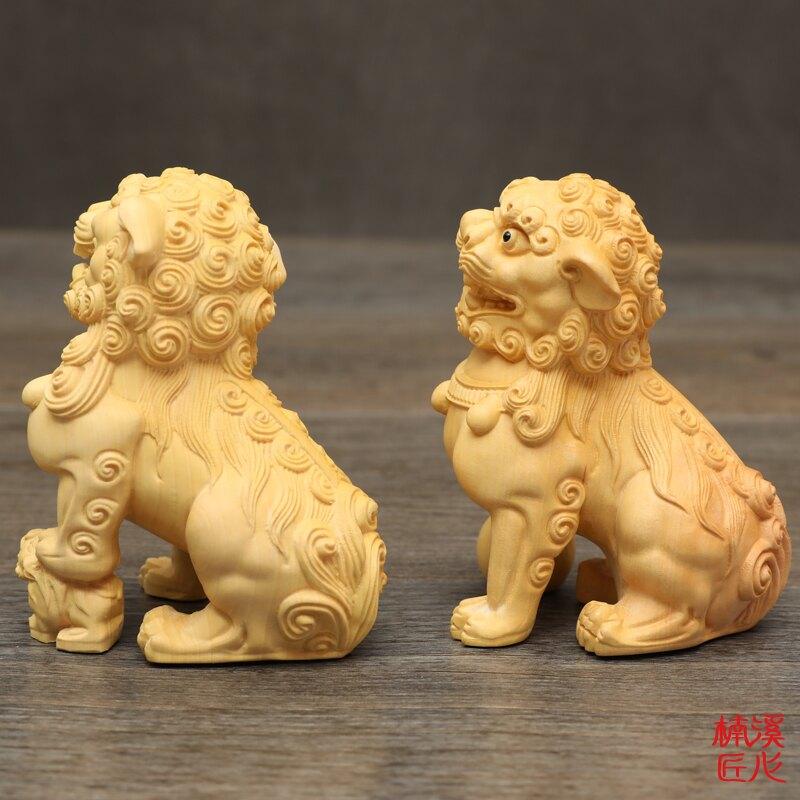 楠溪匠心黃楊木雕鎮宅獅子擺件動物工藝品手把件一對實木獅子招財1入
