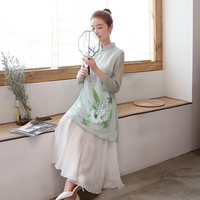 夏季民族風手繪茶藝師服裝中國風禪意雪紡旗袍上衣中式上衣女1入
