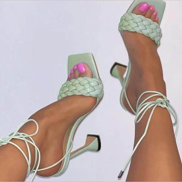 促銷九折 歐美外貿編織大碼羅馬鞋新款綁帶高跟鞋方頭露趾酒杯跟涼鞋女