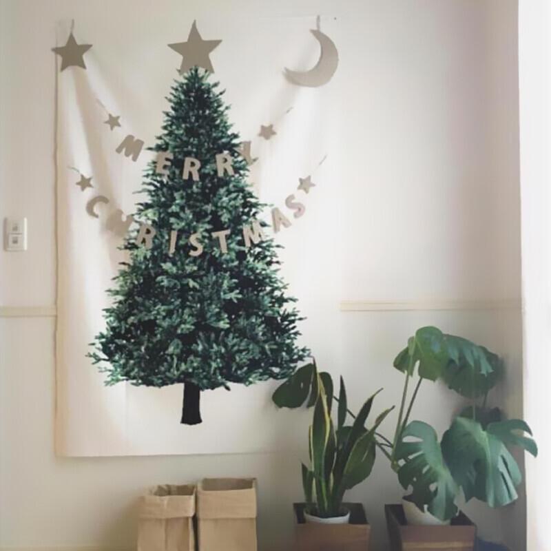 聖誕裝飾掛布拍照背景布 (附2米-led燈串)
