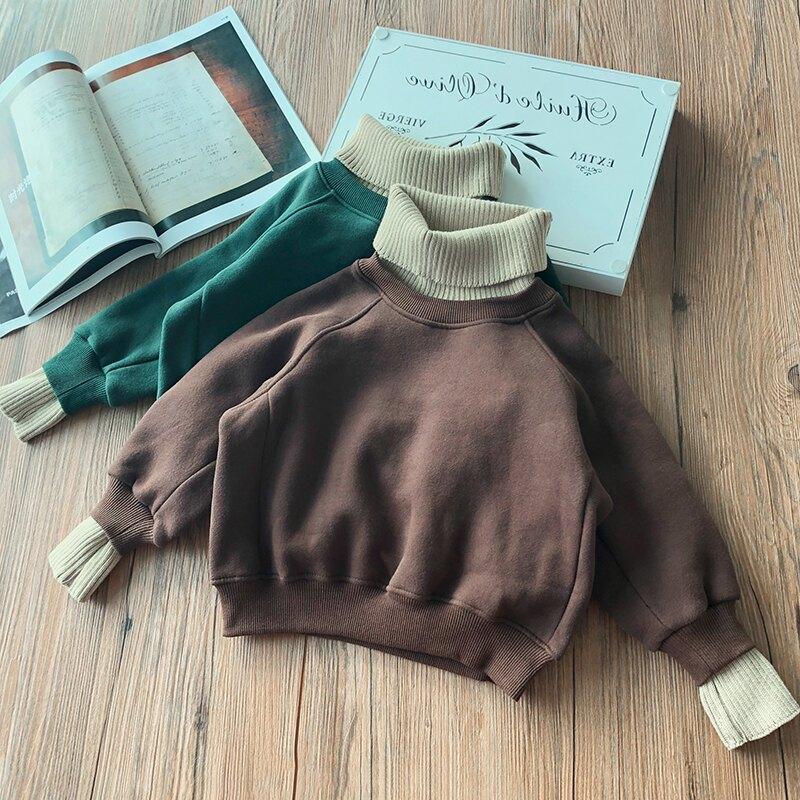 男女童雙層加絨加厚兒童衛衣 童裝2019秋冬裝拼接寶寶針織領絨衫1入
