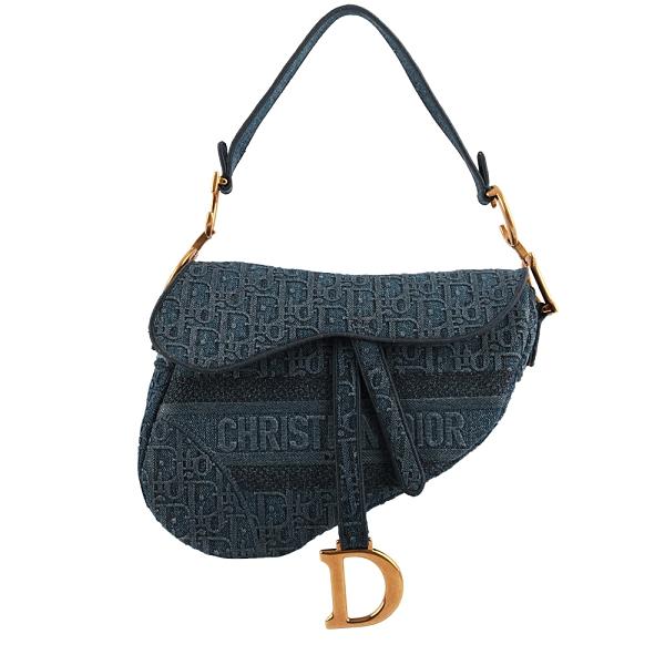 【DIOR】Dior Oblique 繡花牛仔布馬鞍包(藍色) M0446CWAL_M928