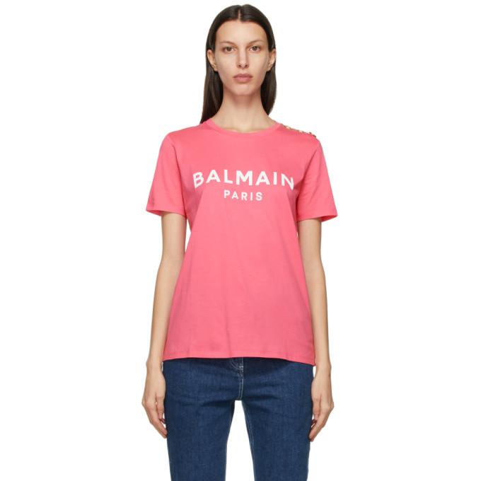 Balmain 粉色 Button 徽标 T 恤