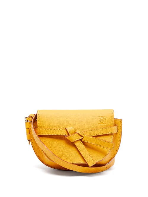 Loewe - Gate Mini Leather Cross-body Bag - Womens - Yellow