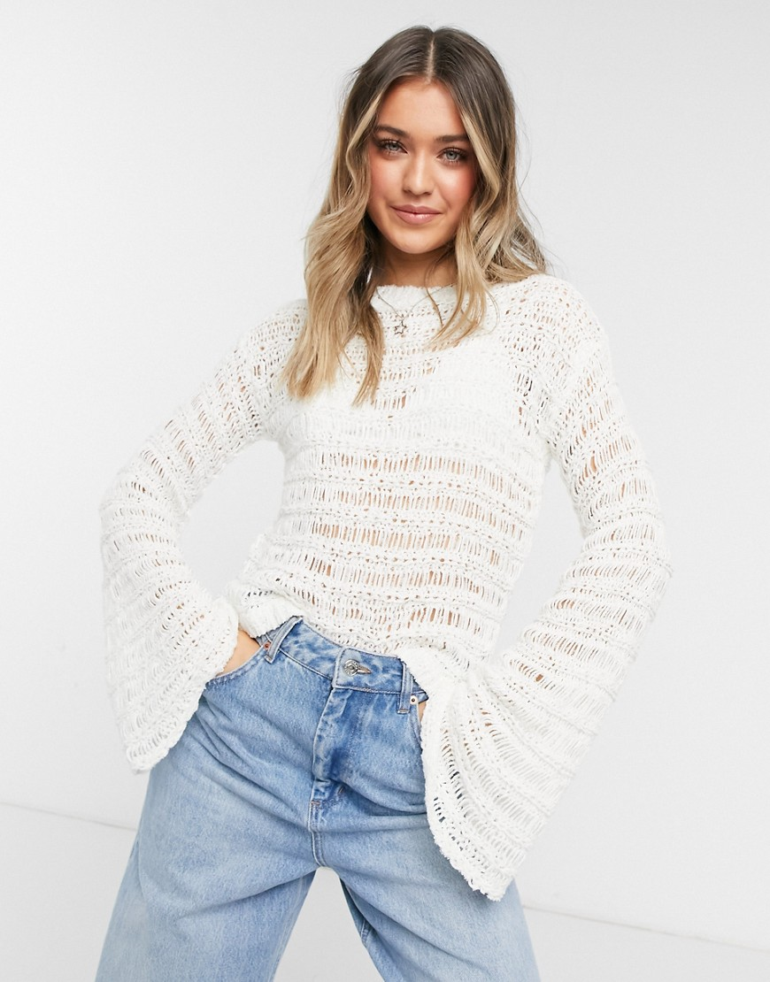 Lottie And Holly loose stitch jumper in ivory-White