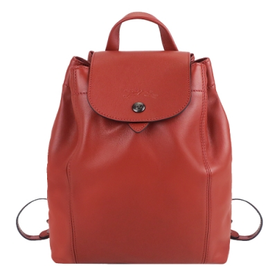 LONGCHAMP LE PLIAGE CUIR系列黑釦小羊皮後背包(中/磚紅)