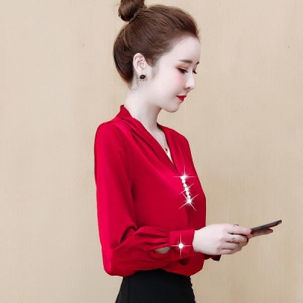 長袖襯衫長袖V領雪紡襯衫女潮時尚上衣設計感小眾N120莎菲娜