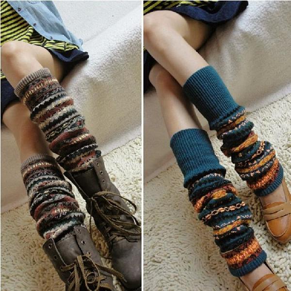 秋冬加厚型波西米亞民族風襪套女過膝護腿襪護膝靴套踩腳褲堆堆襪