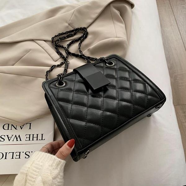 新品促銷 高級感包包女包新款時尚菱格鏈條斜挎包百搭ins洋氣單肩包