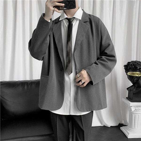 西裝外套 夏秋港風西裝男復古休閑寬松外套ins潮流學生班服情侶款長袖西服 風馳