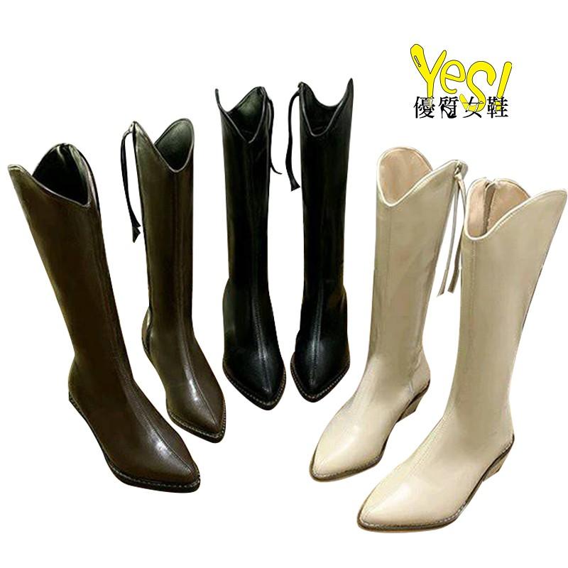 東大門 歐妮最愛超美V字側拉鏈西部靴 粗跟長筒靴 膝下靴-米白/黑/深棕【Yes 優質女鞋】