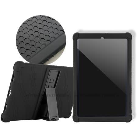 VXTRA 三星 Galaxy Tab S6 Lite 10.4吋 全包覆矽膠防摔支架軟套 保護套(黑) P610 P615