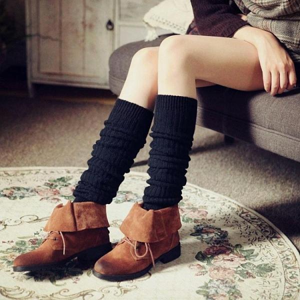 秋冬女人襪套加長加厚過膝襪羊毛保暖護膝高筒靴套粗線腳套