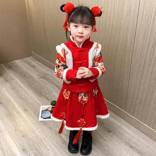 拜年服女童唐裝漢服冬款套裝兒童中國風女寶寶刺繡新年服小童冬裙 快速出貨
