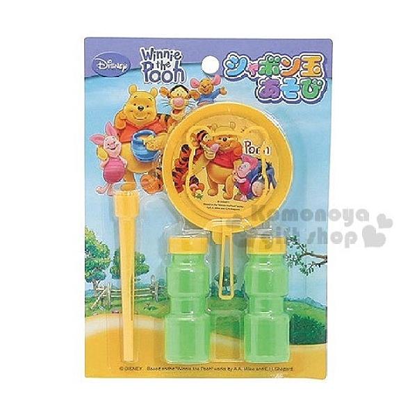 小禮堂 迪士尼 小熊維尼 日製 造型吹泡泡玩具 泡泡水 沙灘玩具 戶外玩具 (黃綠 草原)
