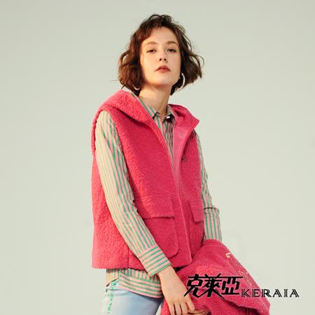 【KERAIA 克萊亞】粉紅泡泡小熊捲毛背心