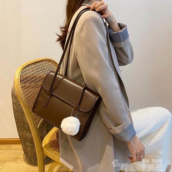 包包2021新款潮秋冬季簡約ins復古公文包小方包百搭側背腋下包女 韓國時尚週 免運