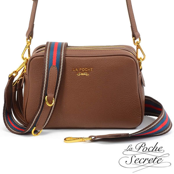 La Poche Secrete側背包 簡約真皮雙拉鍊織帶2WAY側斜背相機包-可可色 BMC-5012N