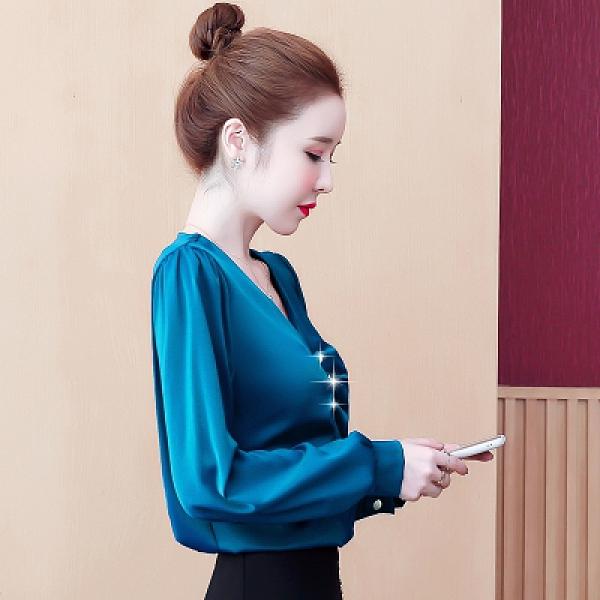 長袖襯衫仿真絲長袖上衣女V領小衫百搭韓版緞面襯衫N120莎菲娜