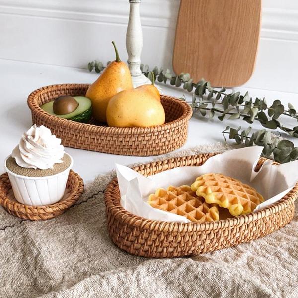 藤編手工面包籃子家用小饅頭點心水果托盤廚房點心果盤食品收納筐