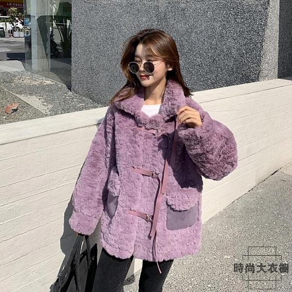 羊羔絨外套仿皮草保暖寬鬆加厚皮毛一體大衣女【時尚大衣櫥】