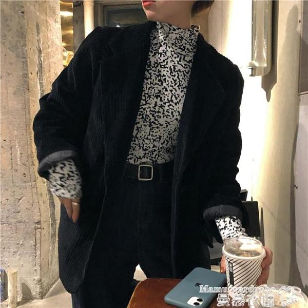 西裝外套 燈芯絨西裝外套女韓版寬鬆2021新款春秋季小個子白色西服上衣 曼慕