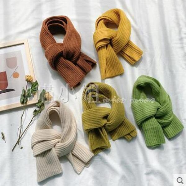 圍巾/絲巾 ins 短款小圍巾女冬季純色毛線針織圍脖學生韓版男情侶款百搭冬天 喵小姐