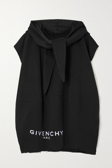 Givenchy - 大廓形磨边刺绣纯棉平纹布帽衫 - 黑色 - small
