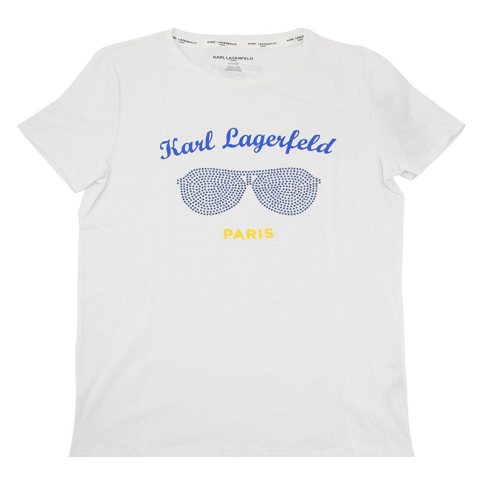 KARL LAGERFELD 卡爾 專櫃商品 水鑽眼鏡印花造型棉質短T恤.白 S