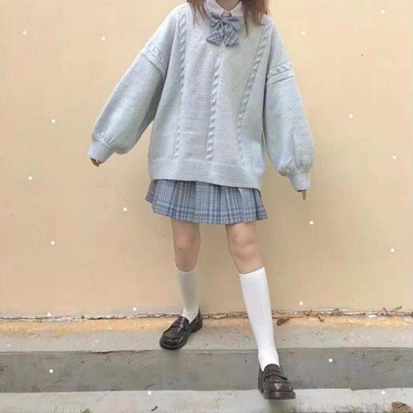 毛衣外套 軟奶藍V領日系JK毛衣外套針織衫 秋冬慵懶風套頭甜美學生純色毛衣 風尚