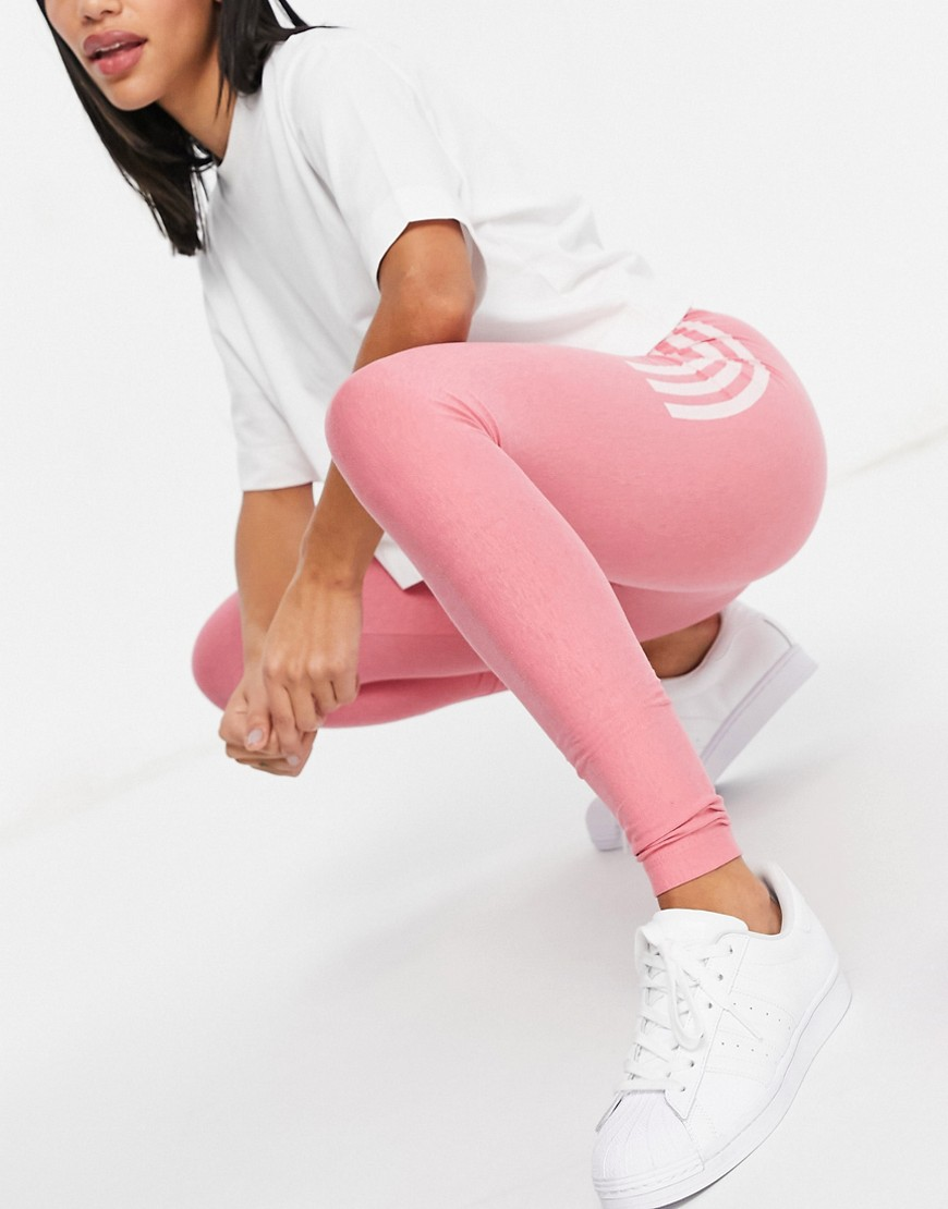 adidas Originals Fakten three stripe logo leggings in hazy rose-Pink