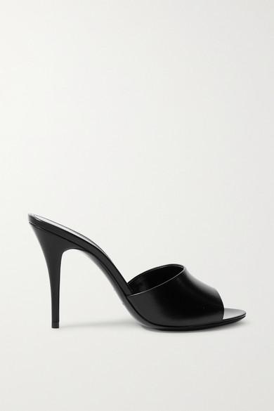 SAINT LAURENT - 亮面皮革穆勒鞋 - 黑色 - IT38.5