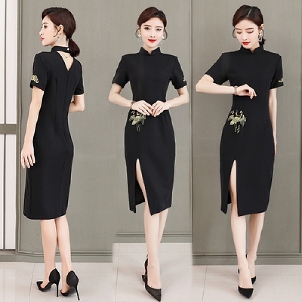 洋裝 夏季款 女士短袖旗袍輕款時尚改良版連身裙女性感高開叉黑色復古NE53A紅粉佳人