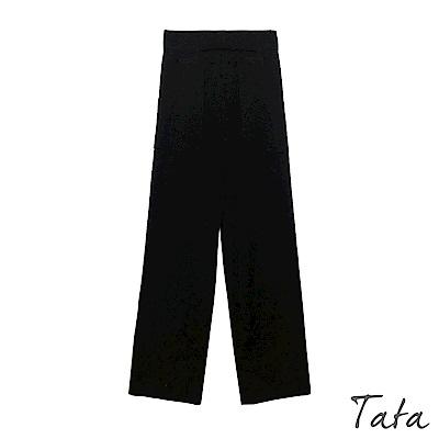 素面鬆緊腰口袋針織長褲 TATA-F