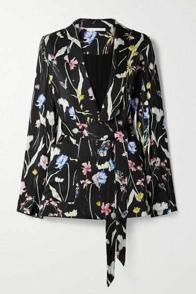 Jason Wu Collection - 花卉印花哑光缎布西装外套 - 黑色 - US2