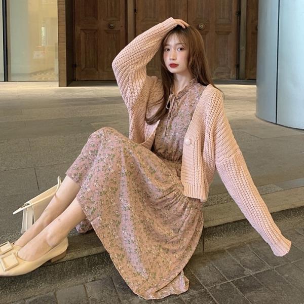 中大呎碼毛衣 秋裝洋氣兩件套慵懶針織短款毛衣外套 甜美碎花連衣裙時尚套裝女
