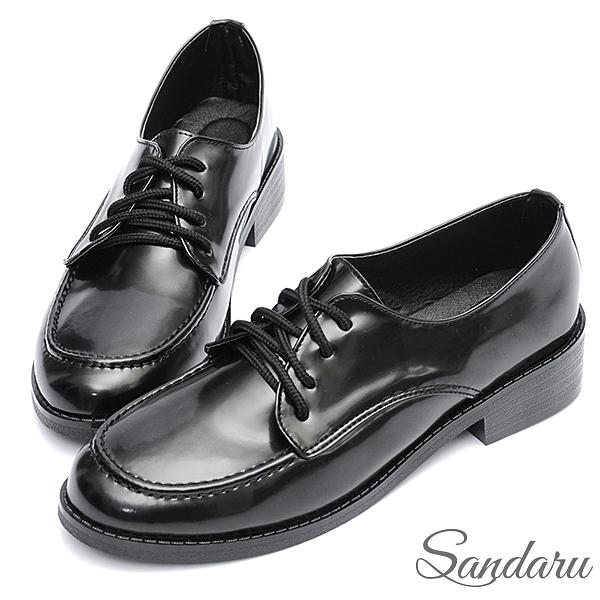 大尺碼鞋 小皮鞋 英倫復古縫線漆皮紳士鞋