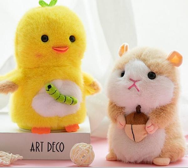 玩偶 魔音小倉鼠玩具會學說話的鴨子兔子復讀玩偶兒童電動毛絨公仔女孩TW【快速出貨八折下殺】