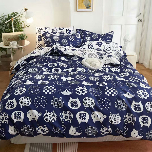 床包被套組(鋪棉兩用被套)-雙人 / 舒柔棉四件式 / 日系小貓