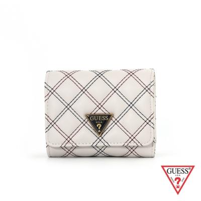 GUESS-女夾-雙線菱形縫線三折式短夾-白 原價1490